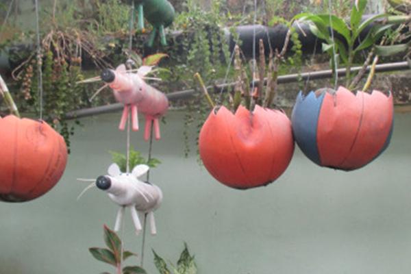 Sử dụng vật dụng tái chế từ nhựa trang trí vườn trường