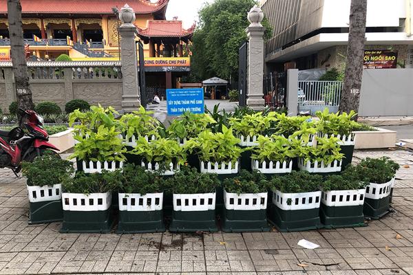 Tận dụng thùng rác công cộng hư, cũ thiết kế mô hình trang trí mảng xanh